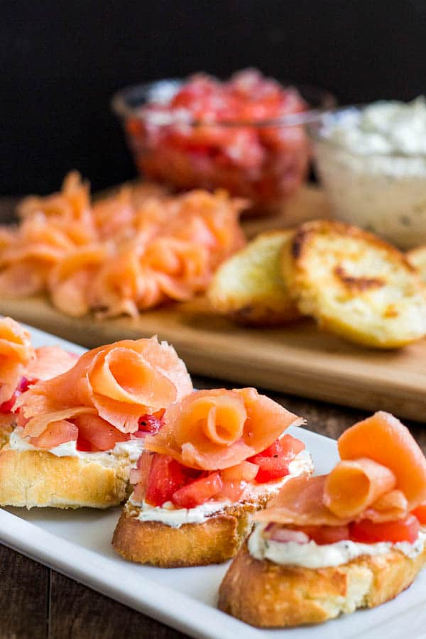 These smoked salmon crostini are simple to make, but complex in taste and texture. Quick and impressive appetizer in less than 30 minutes!