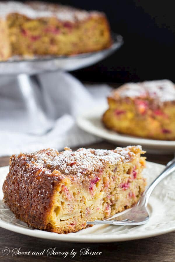 This tender, mildly spiced fall crumb cake is loaded with pears, apples and cranberries and generously topped with buttery crumbs and more cranberries.