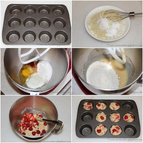 Almond Berry Muffin- step by step photos
