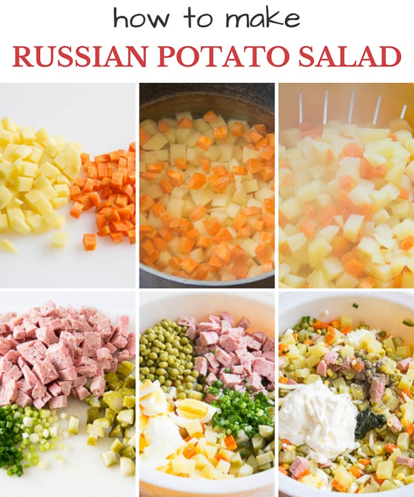 Step by step photo direction to make a hearty Russian potato salad.