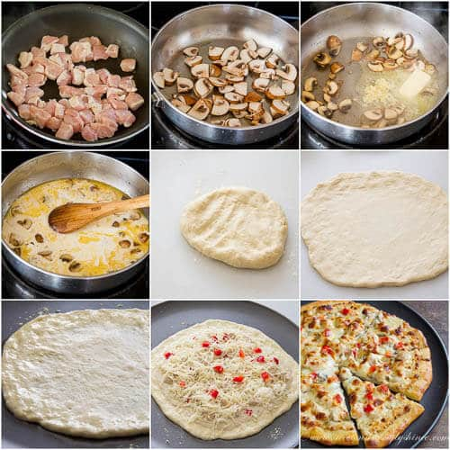 Thin Crust Chicken Alfredo Pizza- Step-by-step