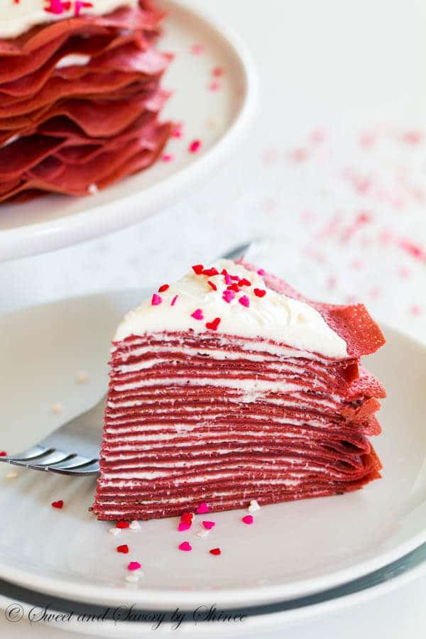 Made With Layers Of Thin Red Velvet Crepes And Filled Tangy Cream Cheese Filling