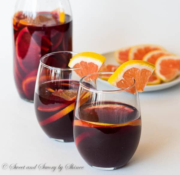 A glass of this citrusy refreshing grapefruit sangria is just what you want to end your outdoor BBQ dinner with. This red sangria recipe is a keeper!