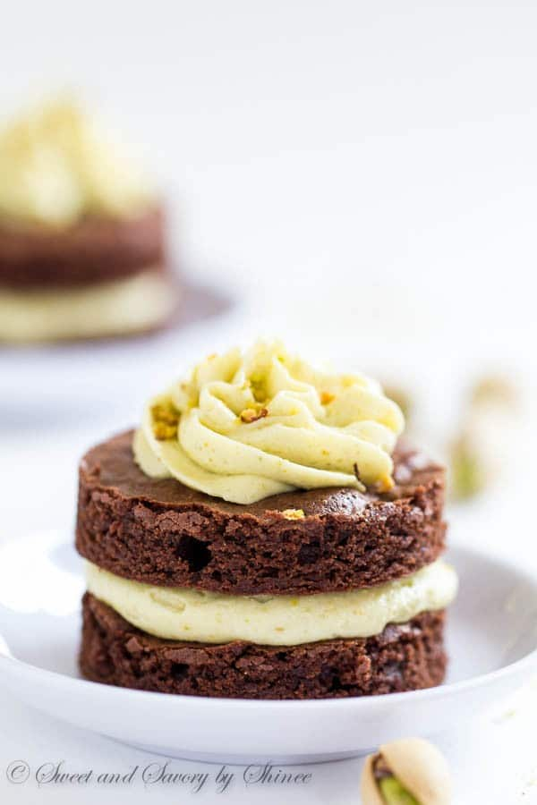 Mini Chocolate Layer Cakes with Pistachio Buttercream