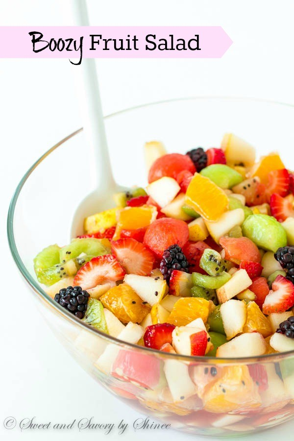 Boozy, fruity and refreshing, this fruit salad is dressed with honey/merlot syrup! Unbelievable flavor combination in one big fruity bowl!
