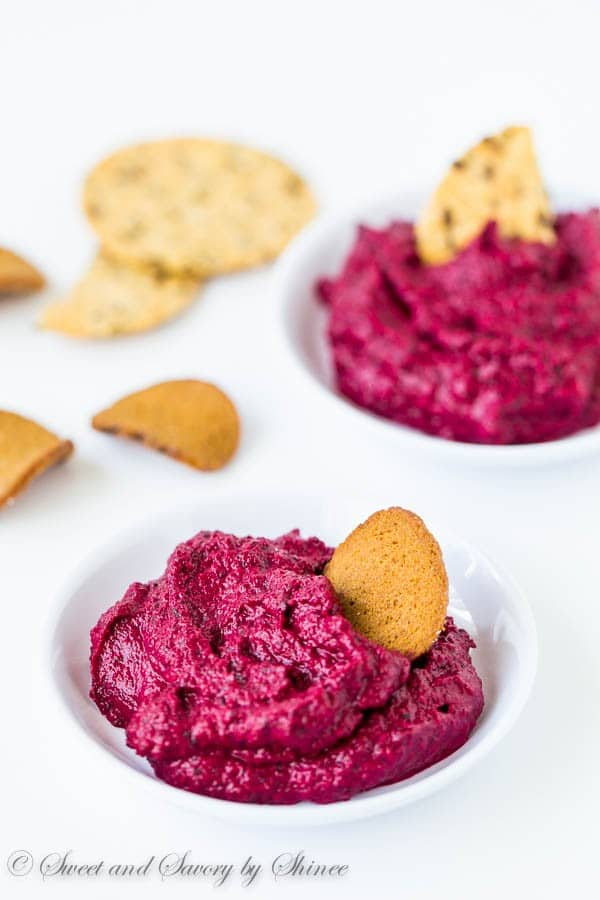 Infused with aromatic herbs and spices and roasted garlic, this roasted beet dip is flavorful, colorful and oh-so addictive!