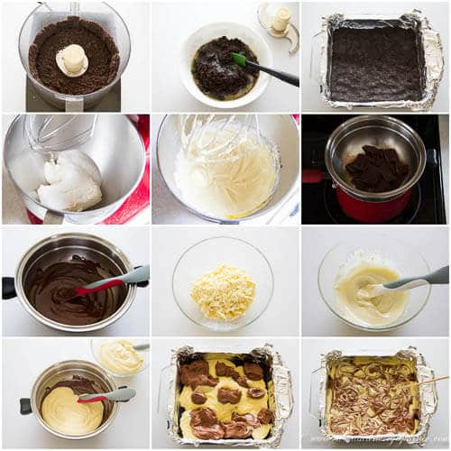Triple chocolate cheesecake bars- step by step photo directions