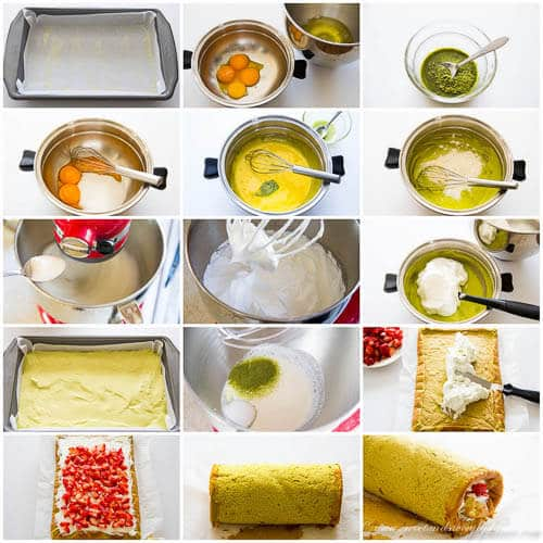 Strawberry matcha roll cake- step-by-step photo tutorial
