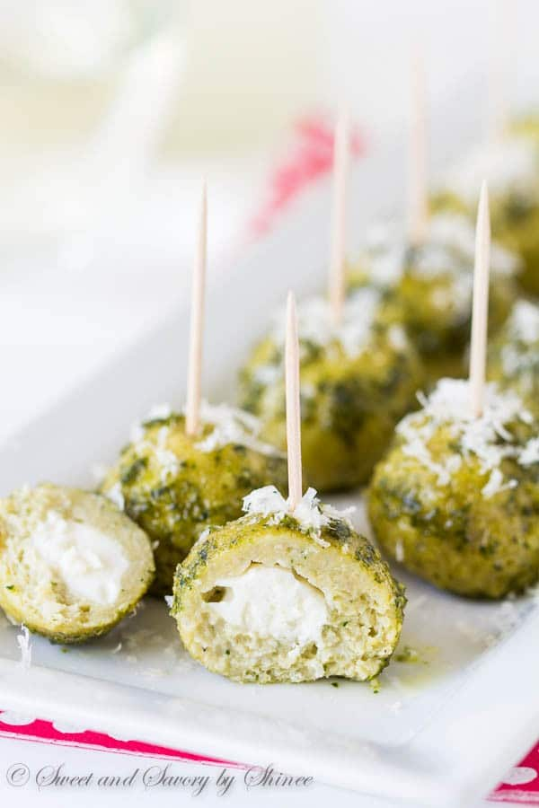 These pesto mozzarella chicken meatballs are packed with flavor and super easy to make in just 3 simple steps. Stunning and delicious appetizer in minutes!