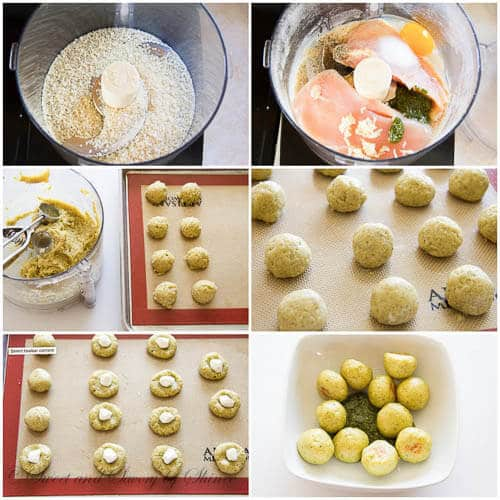 Pesto mozzarella chicken meatballs- step by step photo tutorial