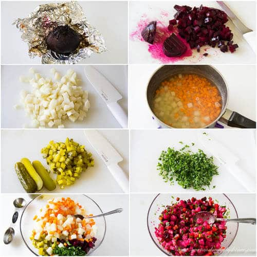 Russian vinaigrette salad- step by step photo directions
