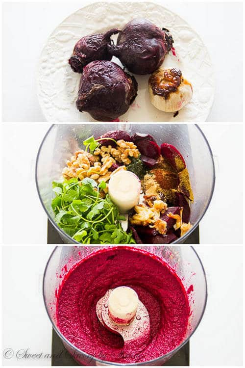 Roasted beet dip- step by step photo tutorial