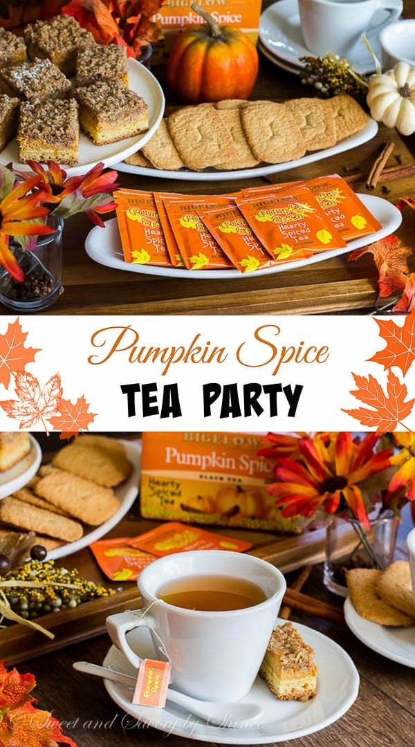 Pumpkin Spice Tea Party. Relax and enjoy a cup of hearty Pumpkin Spice tea on a beautiful fall afternoon. It's time to enjoy the colored trees, all things pumpkin & spices, and of course, good friends.