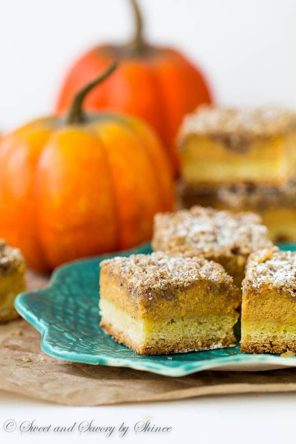 3 incredible layers of cake crust, smooth and creamy pumpkin filling and crumbly. buttery streusel topping make these pumpkin streusel bars out-of-this-world delicious!