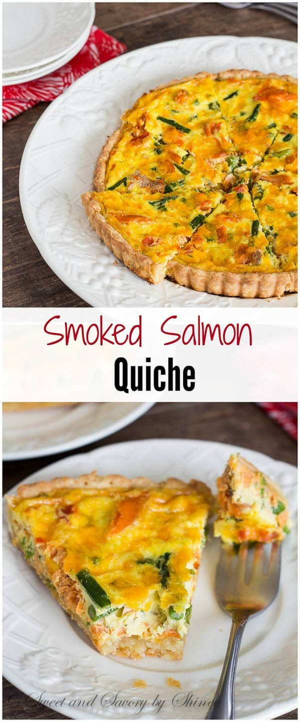 Creamy, colorful and delicious smoked salmon quiche with asparagus is perfect for a special occasion brunch, or a light dinner.