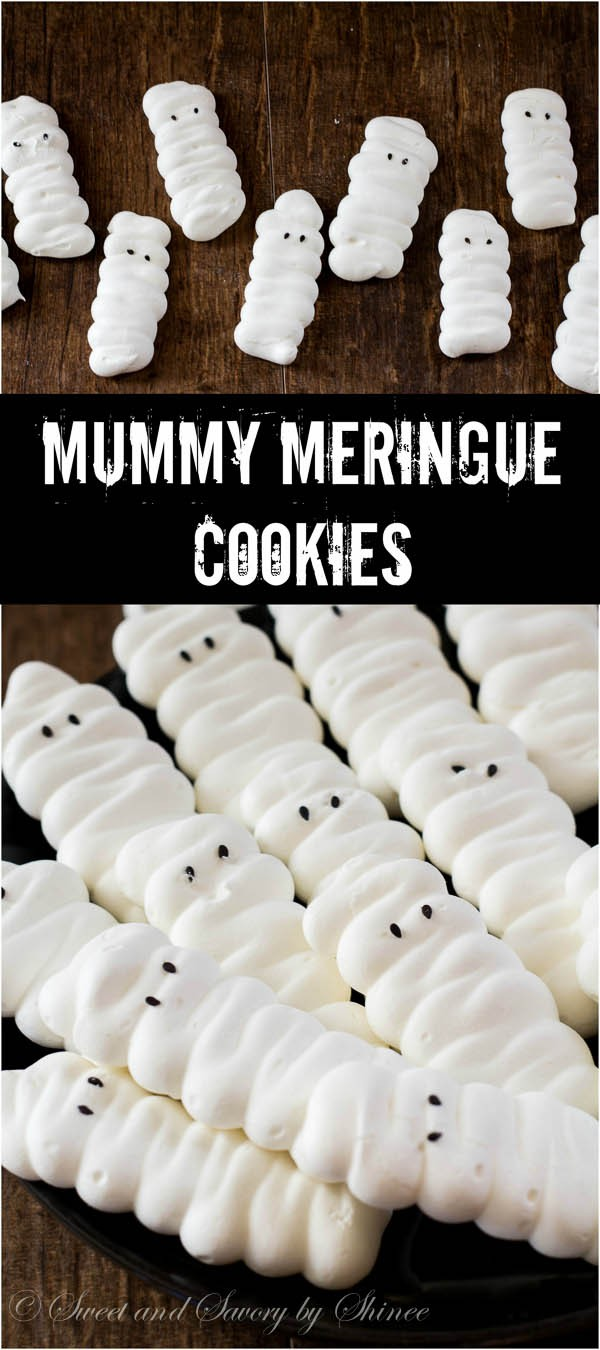 These fun mummy meringue cookies are light as air and melt-in-your-mouth treats, perfect for your Halloween party!