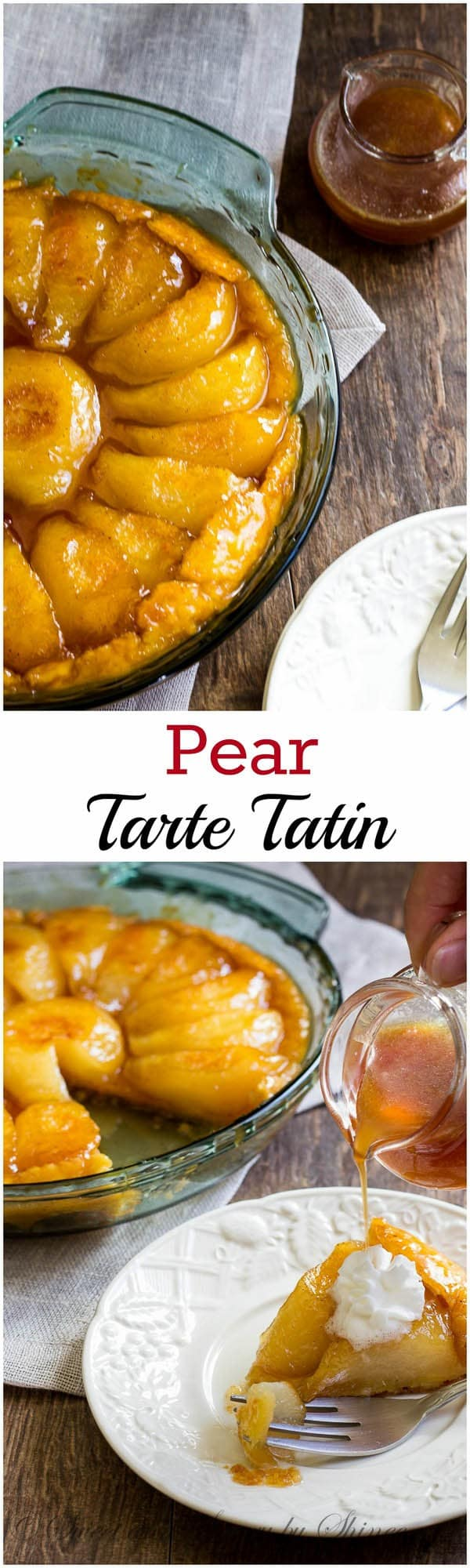 Delicate, soft pears smothered with caramelized syrup over buttery crust- simply heaven in your mouth!