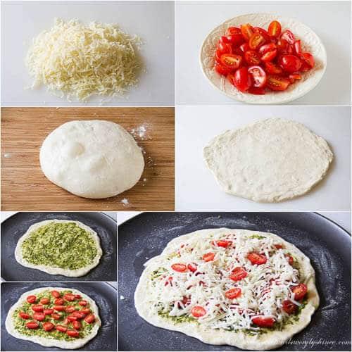 Roasted tomato pesto pizza- step by step photo tutorial