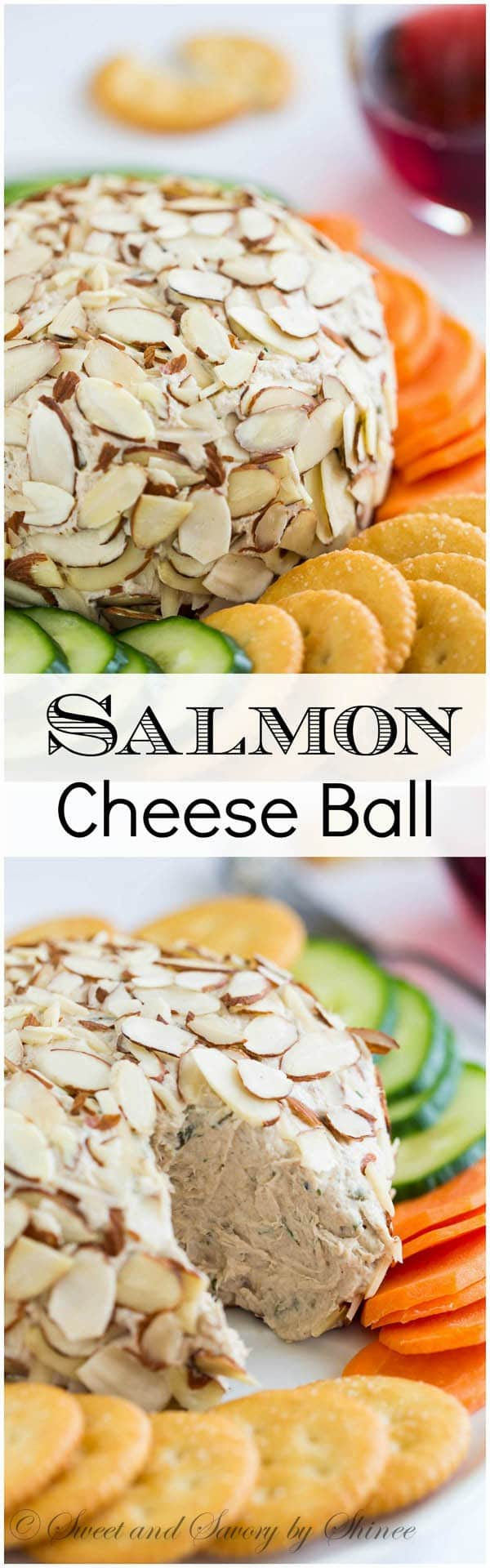 Ton of flavors and texture in this easy-to-make salmon cheese ball. Learn how I easily shape this into a ball and roll it in the almonds. (I know, it can be tricky!)