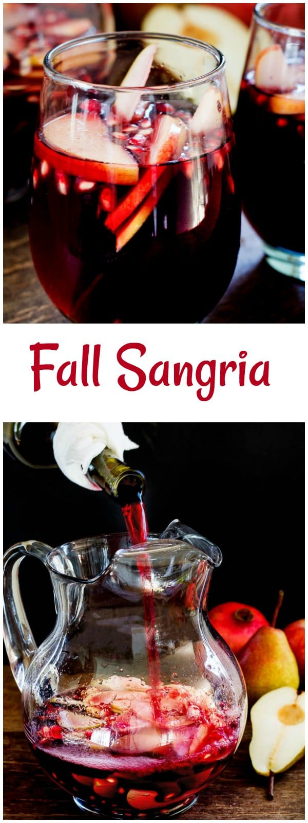 This easy autumn sangria, filled with apples, pears and pomegranates, is absolutely delicious drink you can enjoy this fall!
