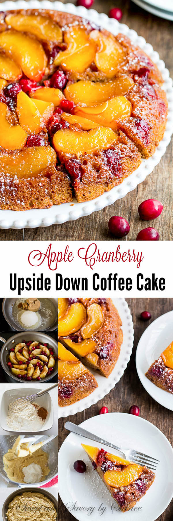 Juicy sweet apples and tart cranberries simmered in caramelized sauce soak into tender spiced coffee cake. This apple cranberry upside down coffee cake is a must this holiday season.