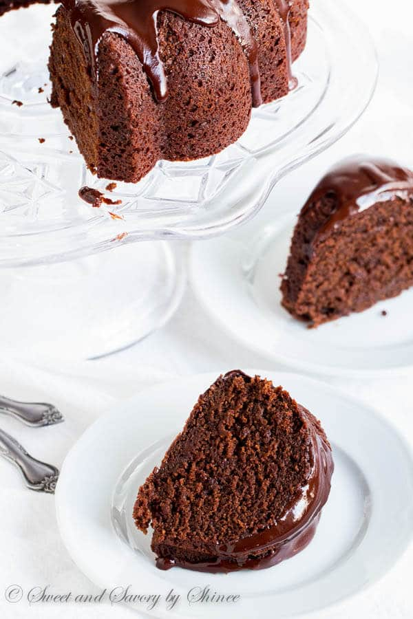 Stout in the cake and stout in the ganache! This double stout chocolate bundt cake is studded with slivered dark chocolate for even more intense flavor. Every chocoholic's heaven!