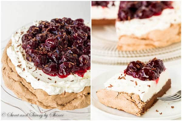 Melt-in-your-mouth light Chocolate Pavlova topped with indulgent sweet cherry sauce. Learn exactly how I make this show-stopper step by step.
