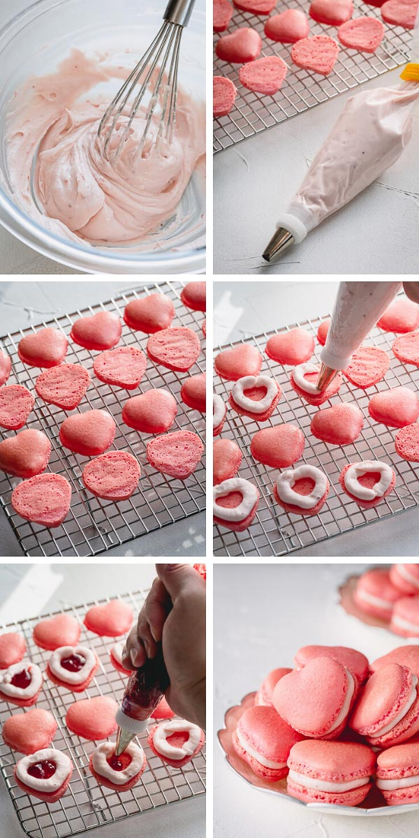 These strawberry macarons are infused with strawberry flavor in every layer (no artificial flavoring)!  So good, you wouldn't want to share these adorable little heart-shaped treats! #strawberrymacarons #frenchmacarons