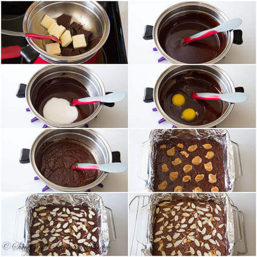 Almond brownies with dulce de leche- step by step photo instruction