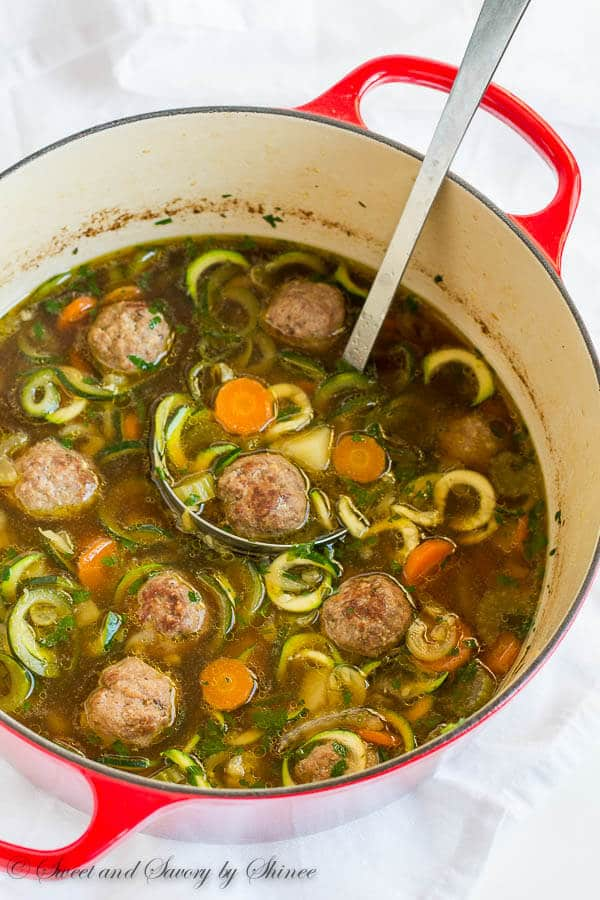 Loaded with vegetables and homemade meatballs, this light, yet hearty soup comes together in less than 45 minutes. Great weeknight and weekend dinner!