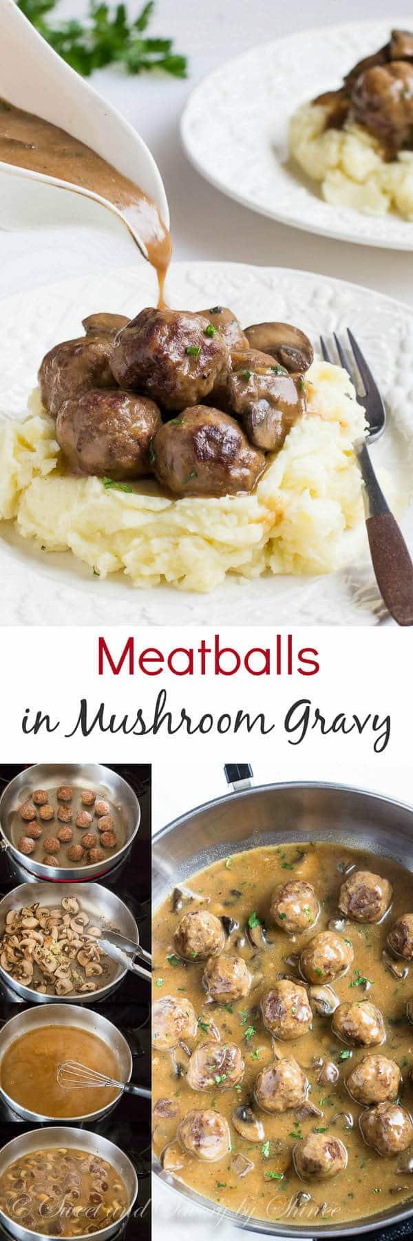 Meatballs in mushroom gravy