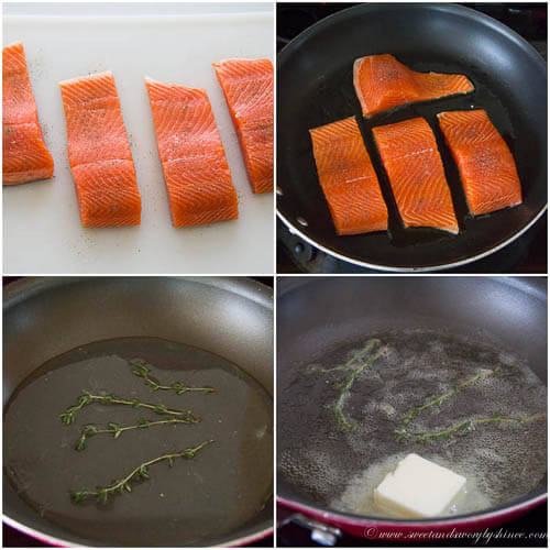 Pan fried steelhead trout with thyme lemon butter sauce- step by step photo instruction