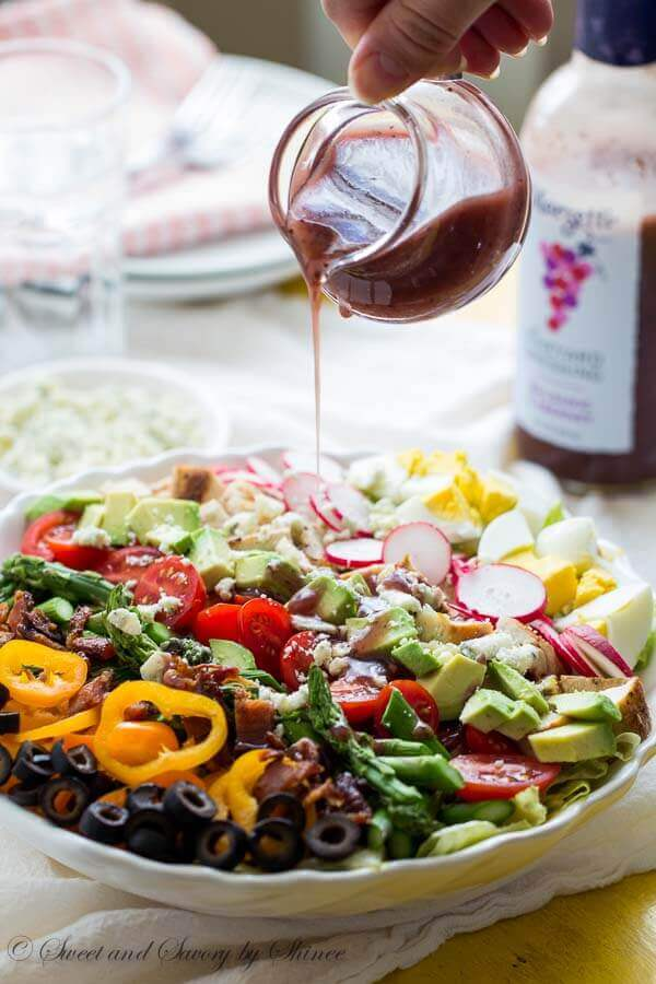 This spring version of classic cobb salad is bursting with tons of spring flavors and loaded with texture. Tangy Marzetti® Vineyard Dressing in Balsamic Cabernet dressing ties everything together so you can enjoy the most satisfying salad ever!