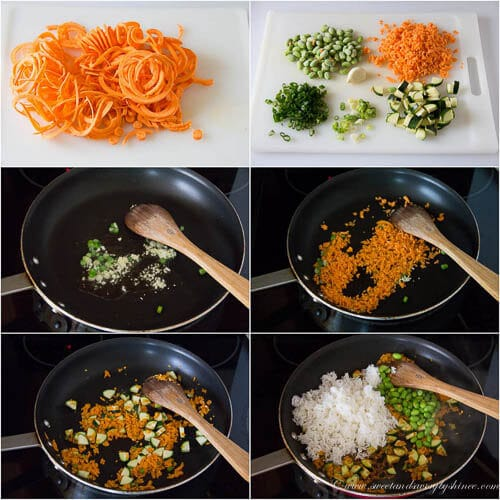 Step by step photos for vegetable fried rice.