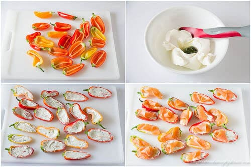 Mini sweet peppers stuffed with cream cheese and smoked salmon- step by step