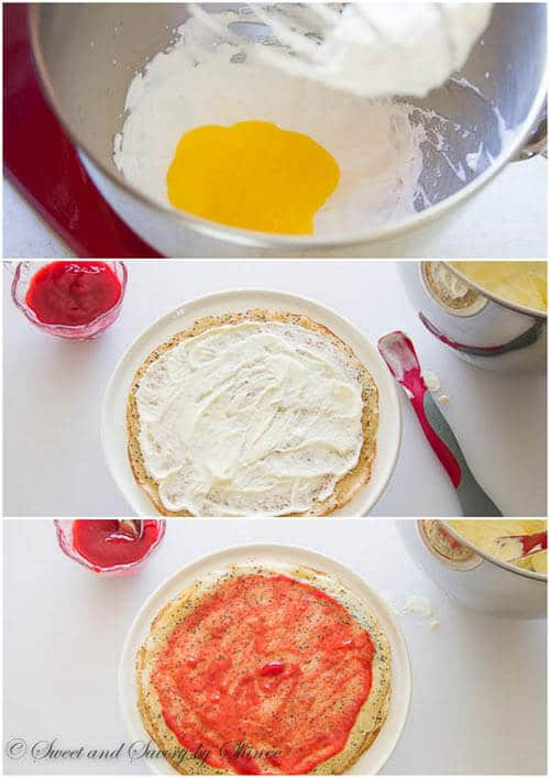 Lemon Raspberry Crepe Cake- step by step