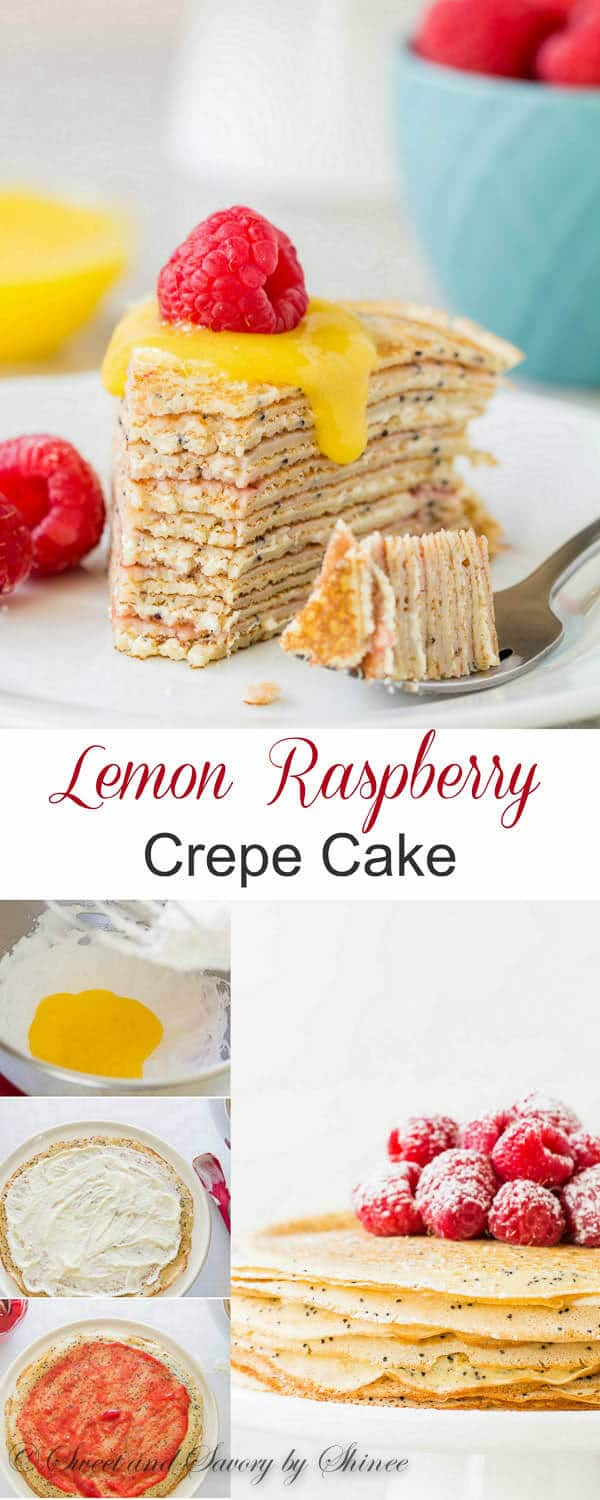 Simple, yet impressive lemon raspberry crepe cake is perfect make-ahead dessert for any occasion. Delicate crepes are studded with crunchy poppy seeds and filled with raspberry sauce and creamy lemon curd filling!