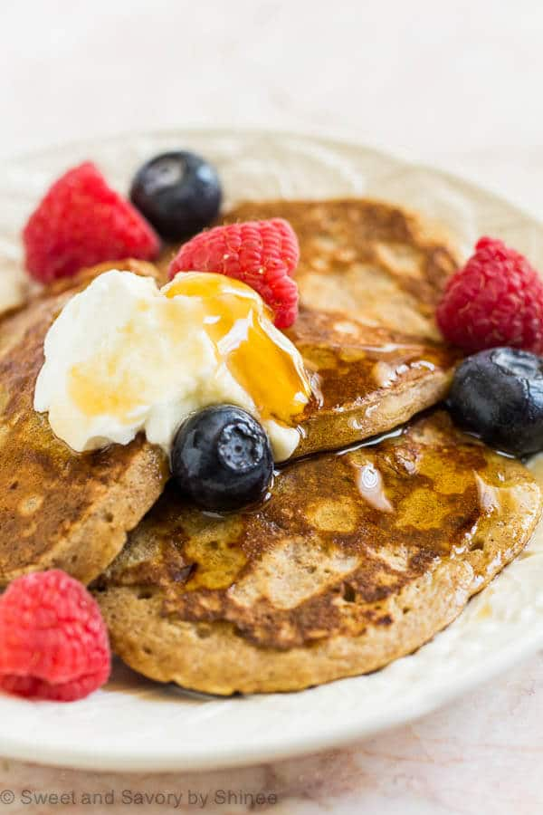 These healthy and delicious banana pancakes are the best! Unlike common 2-ingredient version, this one is much more flavorful, yet still nutritious and, most importantly, super easy!