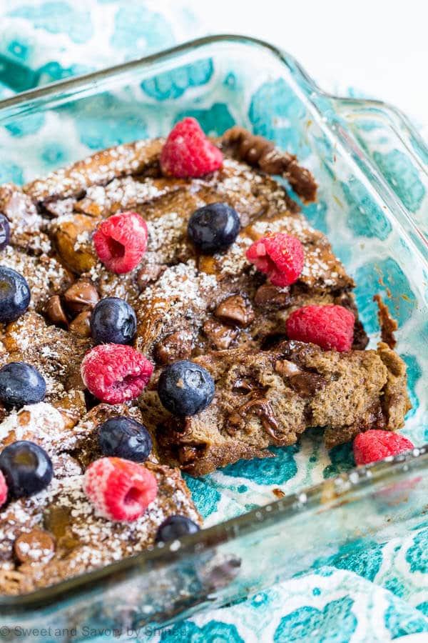 Treat your overnight guests with these double chocolate baked french toast casserole. It's a delicious make-ahead breakfast to enjoy on a lazy morning.
