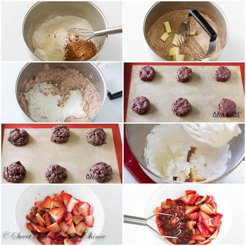 Chocolate Strawberry Shortcake with step by step photo instructions