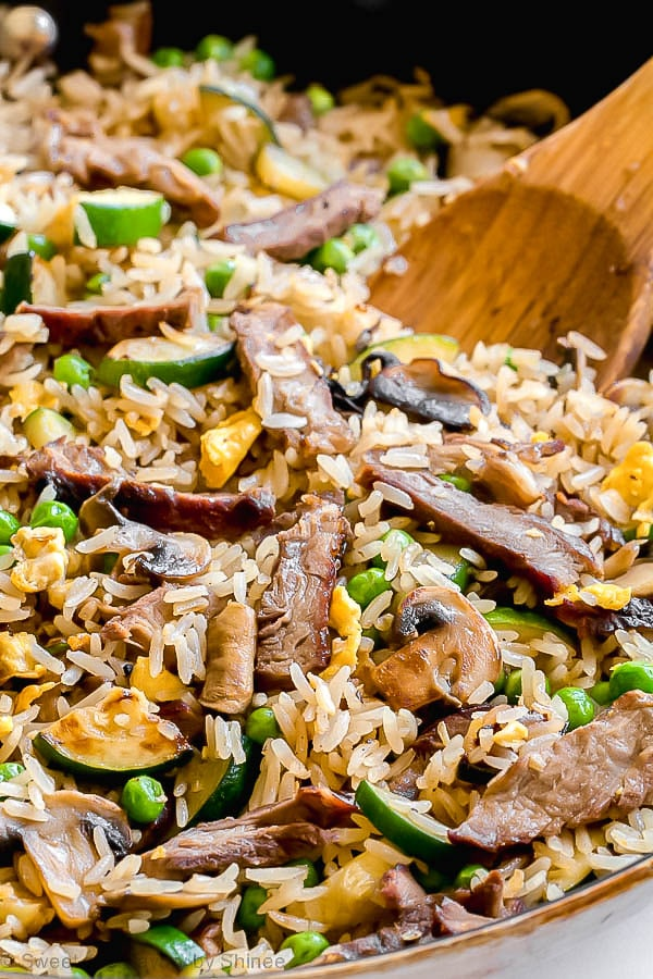 Leftover steak fried rice is an excellent way to repurpose leftovers and enjoy a better-than-take-out dinner in a snap! Leftovers never tasted this good! #steakfriedrice
