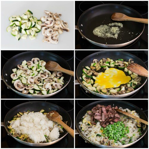 Leftover Steak Fried Rice - step by step photos