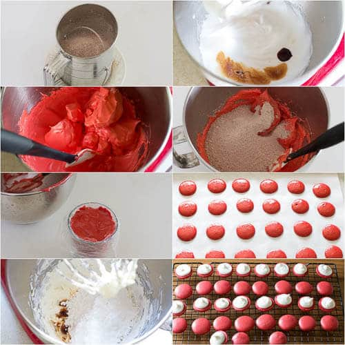 Red Velvet Macarons recipe with step by step photos
