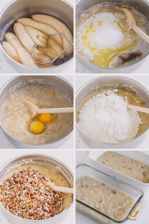 Step by step photos to make the moistest banana breads. This recipe yields 2 breads, which is amazing!!! #bananabread