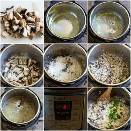 No Stir Pressure Cooker Mushroom Risotto step by step