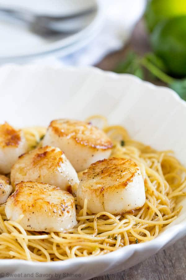 Tequila Lime Seared Scallops Pasta Sweet Savory By Shinee