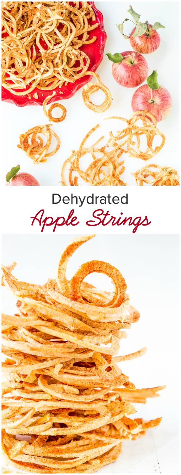 These baked apple strings taste exactly like freeze dried apples. So light and airy, crispy and addicting! And the best part is no special appliance required, just your oven.