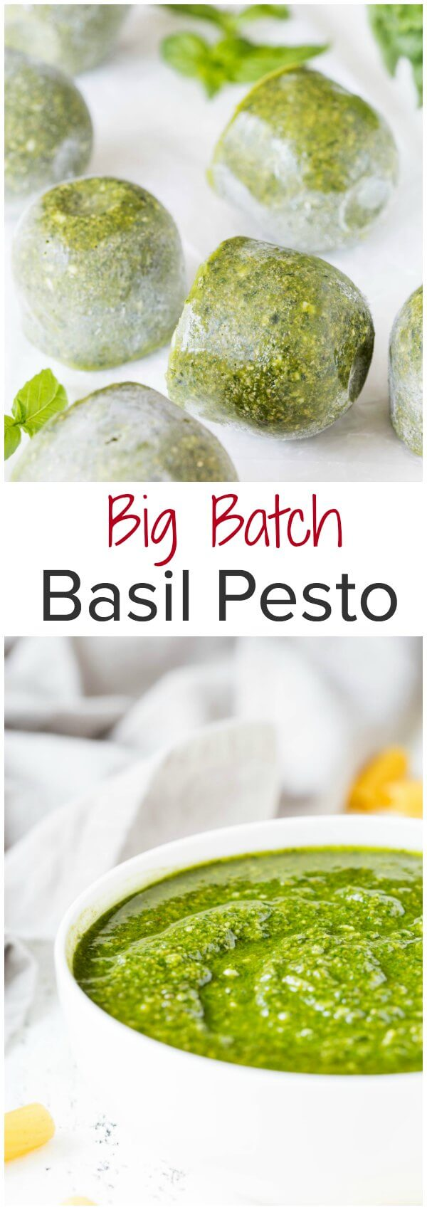 Stock your freezer with big batch basil pesto from scratch. This classic pesto recipe requires only 6 ingredients, but will be enough for more than 8 meals!