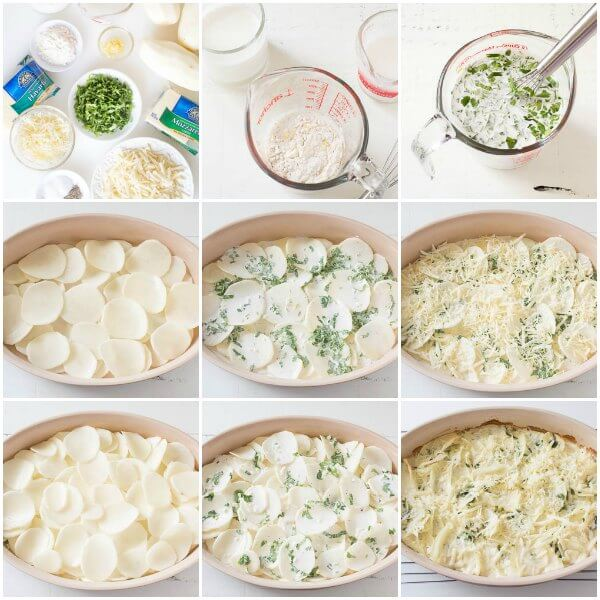 Cheesy Scalloped Potatoes, step by step visuals
