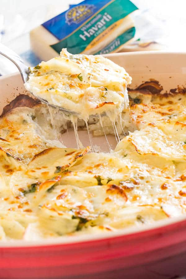 This family favorite cheesy scalloped potatoes are famous for its creamy richness and delicate cheesy layers. Excellent make-ahead side dish for a crowd!